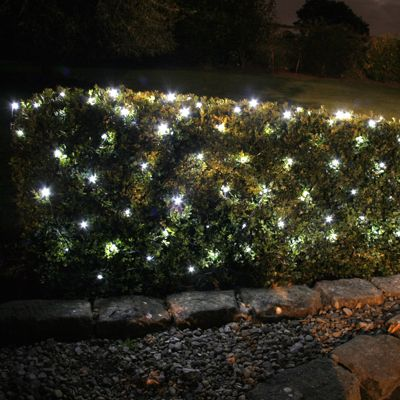 100 White LED Solar Net Light On Green Cable