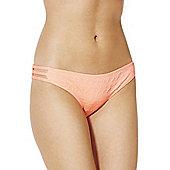 South Beach Textured Bikini Briefs - Coral
