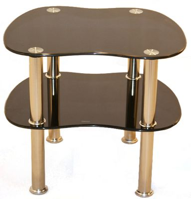 Curved Black Glass Side Table with Chrome Legs