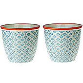 Patterned Plant Pot. Porcelain Indoor / Outdoor Flower Pot - Blue / Orange Print Design - Box of 2