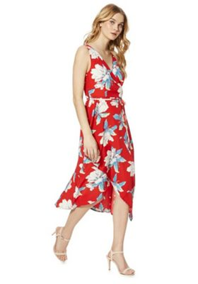 AX Paris Floral Print Wrap Dress Poppy Red 12