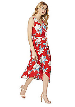AX Paris Floral Print Wrap Dress - Poppy Red