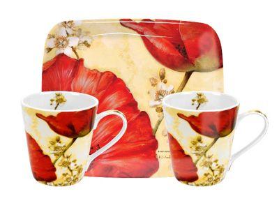 Pimpernel Poppy de Villeneuve Twin Mug & Tray Set