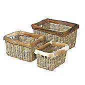 Parlane Set of Three Rattan Baskets with Goat Hide Trim - 30 x 50 x 40cm