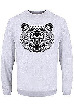 Unorthodox Bear Mandala Men's Grey Sweater - Grey