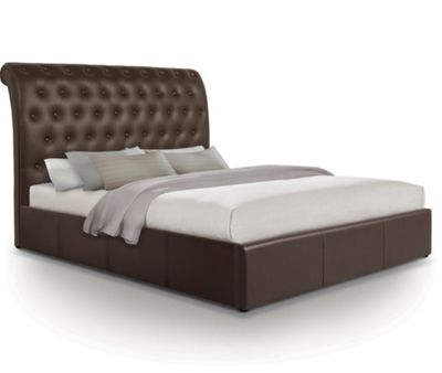 Extra Tall Scroll Ottoman Gas Lift Storage Bed Upholstered in Faux Leather - Double - Brown