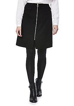 F&F Mock Pocket Zip-Through Skirt - Black