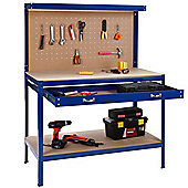 VonHaus Steel Boltless Workbench Worktable Workshop Station with Drawer and Pegboard + FREE 12 Pegs Massive Capacity 230 kg (120L x 60W x 155H cm)