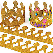Gold Glitter Foam Craft Crowns (Pack of 5)
