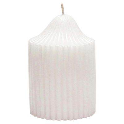 Ribbed Candle White Small