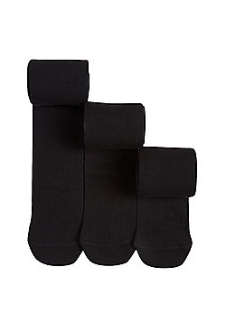 F&F 3 Pack of Super Soft Knitted Tights - Black
