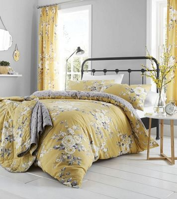 Catherine Lansfield Canterbury Easy Care Bedspread Ochre, 220 x 230 cm