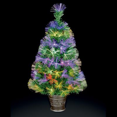 Premier 80cm Fibre Optic Burst Christmas Tree with Red-Blue & Red-Green LEDs