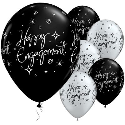 Happy Engagement Black & Silver 11 inch Latex Balloons - 25 Pack