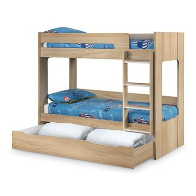 Happy Beds Ellie Wood Kids Bunk Bed and Underbed Storage Drawer with 2 Orthopaedic Mattresses - Oak - 3ft Single