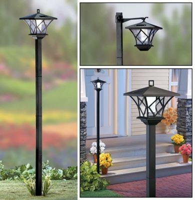 Solalite 1.5m Tall Outdoor Solar Powered Black Garden Lamp Post Light