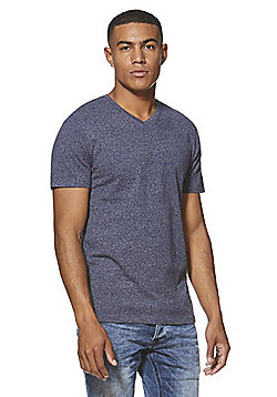 F&F Marl V-Neck T-Shirt with As New Technology - Navy
