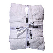 Homescapes White 100% Combed Egyptian Cotton Hooded Kids Bathrobe, Small