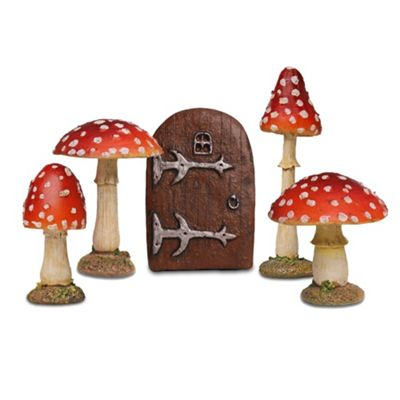 Fairy Garden Ornament Set with 4 Red Toadstool Mushrooms & Small Fairy Door