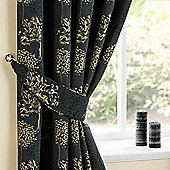 Homescapes Jet Black Curtains Tie Backs Pair Embroidered Trees