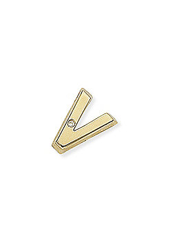 Jewelco London 9ct Yellow Gold - Diamond - V' Initial Charm Pendant -