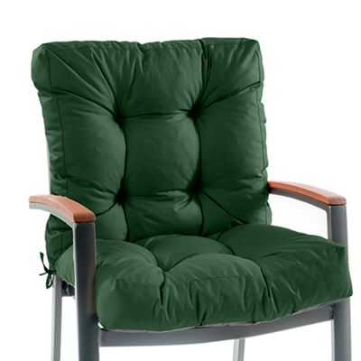 Gardenista Tufted 2-Part Chair Seat Pad in Water Resistant Fabric with Ties - Green