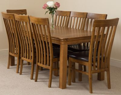 French Rustic 180cm Fixed Solid Oak Dining Table with 8 Solid Rustic Oak Chairs