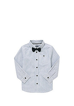 F&F Spot and Stripe Shirt with Bow Tie - White