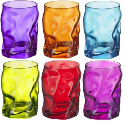 Bormioli Rocco Sorgente Coloured Tumblers Glasses - 300ml (10.5oz) - Multi Coloured - Set of 6