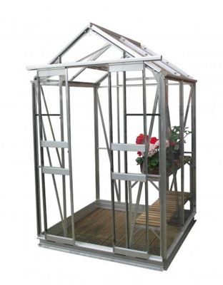Simplicity Sandon 4x4 Plain Aluminium Greenhouse Starter Package