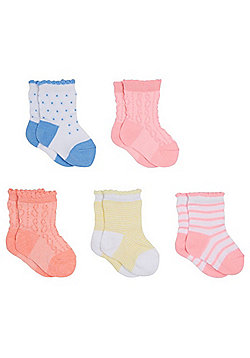 F&F 5 Pack of Striped and Dotty Socks - Multi