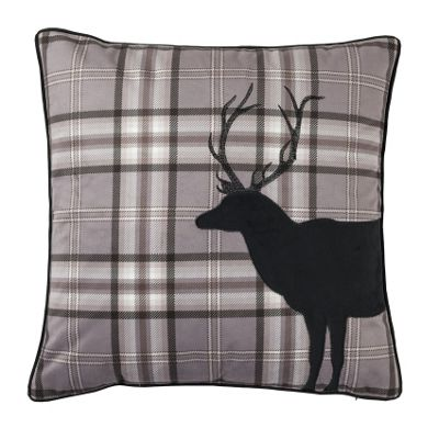 Catherine Lansfield Home Cosy Corner Tartan Stag Charcoal Cushion Cover