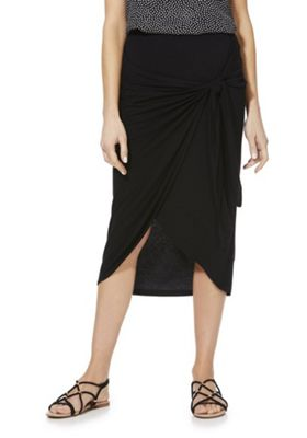F&F Knot Front Wrap Jersey Skirt Black 18