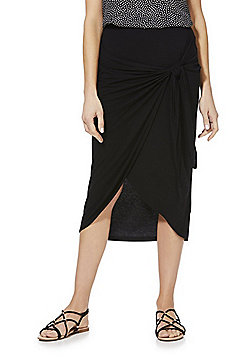 F&F Knot Front Wrap Jersey Skirt - Black