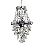 Traditional Chrome Pendant Light Shade with Clear Acrylic Decoration