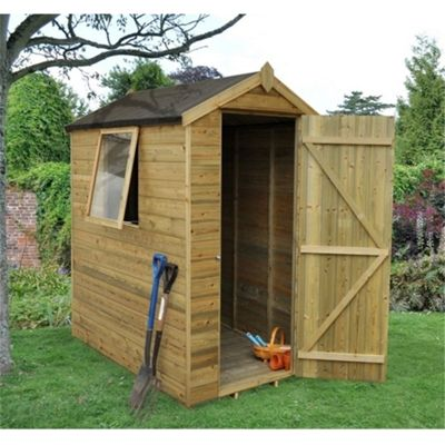 6 x 4 Rock Pressure Treated Shiplap Tongue and Groove Shed - Assembled 6ft x 4ft (1.83m x 1.22)