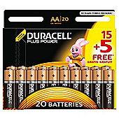 20 x Duracell AA MN1500 Plus Power Batteries