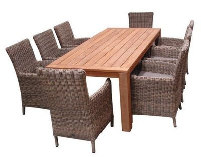 HIGHCLERE 9PC DINING SET WITH HIGHCLERE FSC TEAK WITH 8 MODENA CARVER CHAIRS
