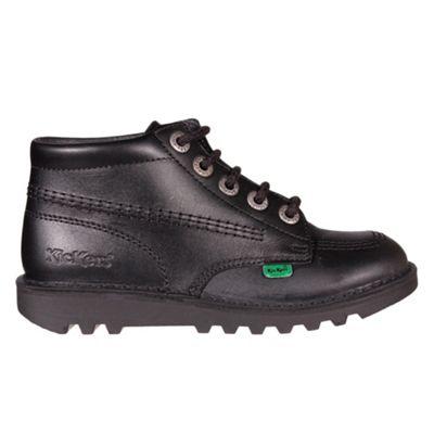 Kickers Kick Hi Leather Junior Girls School Shoe Boot Black, UK 12.5