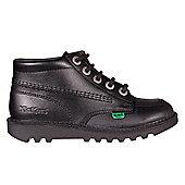 Kickers Kick Hi Leather Junior Girls School Shoe Boot Black - Black