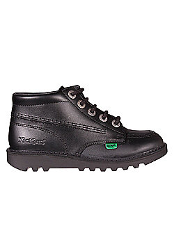Kickers Kick Hi Leather Junior Girls School Shoe Boot Black - Black