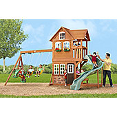 Selwood Stonefield Lodge Climbing Frame - Curved Slide, Swings & Playhouse