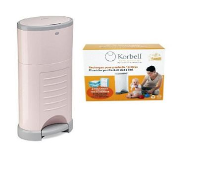 Korbell Nappy Disposal System Bundle - 16L Pink Bin and 16L Capacity Refill 3 Pack - 2 Items Supplied
