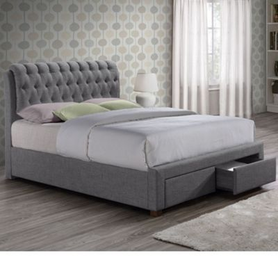 Happy Beds Valentino Fabric 2 Drawer Storage Bed with Open Coil Spring Mattress - Grey - 4ft6 Double