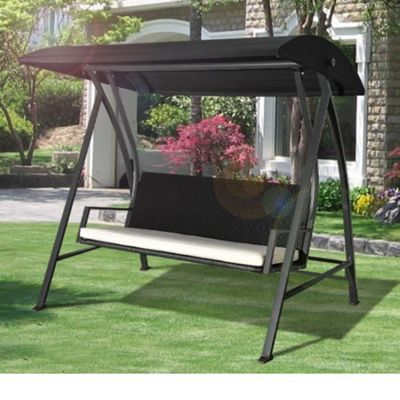 Outsunny Black Outdoor 4 Seater Garden Rattan Swing Chair