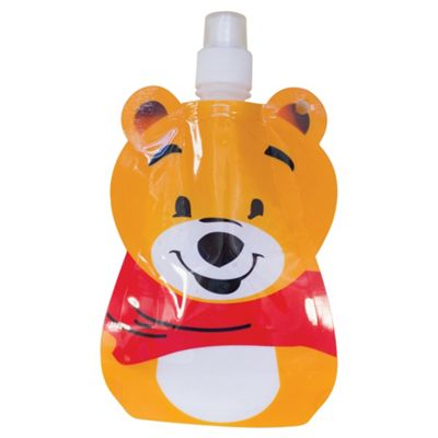 Yellowstone 375ml Kids Folding Water Bottle with Carabina Clip Bear