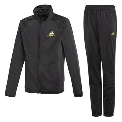adidas Entry Boys Kids Youth Kids Full Zip Tracksuit Set Black/Gold - 11-12 Years