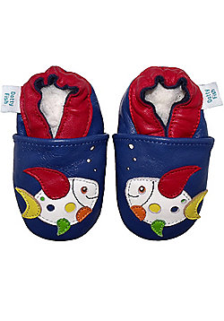 Dotty Fish Soft Leather Baby Shoe - Multicoloured Fish Design - Navy