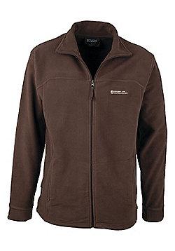 Elm Mens Fleece Jacket Coat Top Full Zip Warm Winter Walking Hiking Sweater - Brown