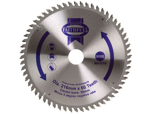 Faithfull Circular Saw Blade 216 x 30mm x 60T NEG
